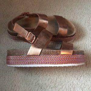 Rose Gold Woven Platform Sandals Pierre Dumas